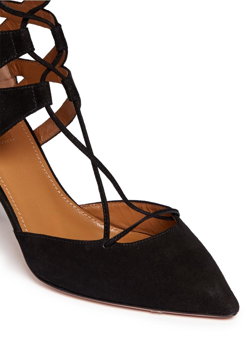 镂空系带麂皮高跟鞋