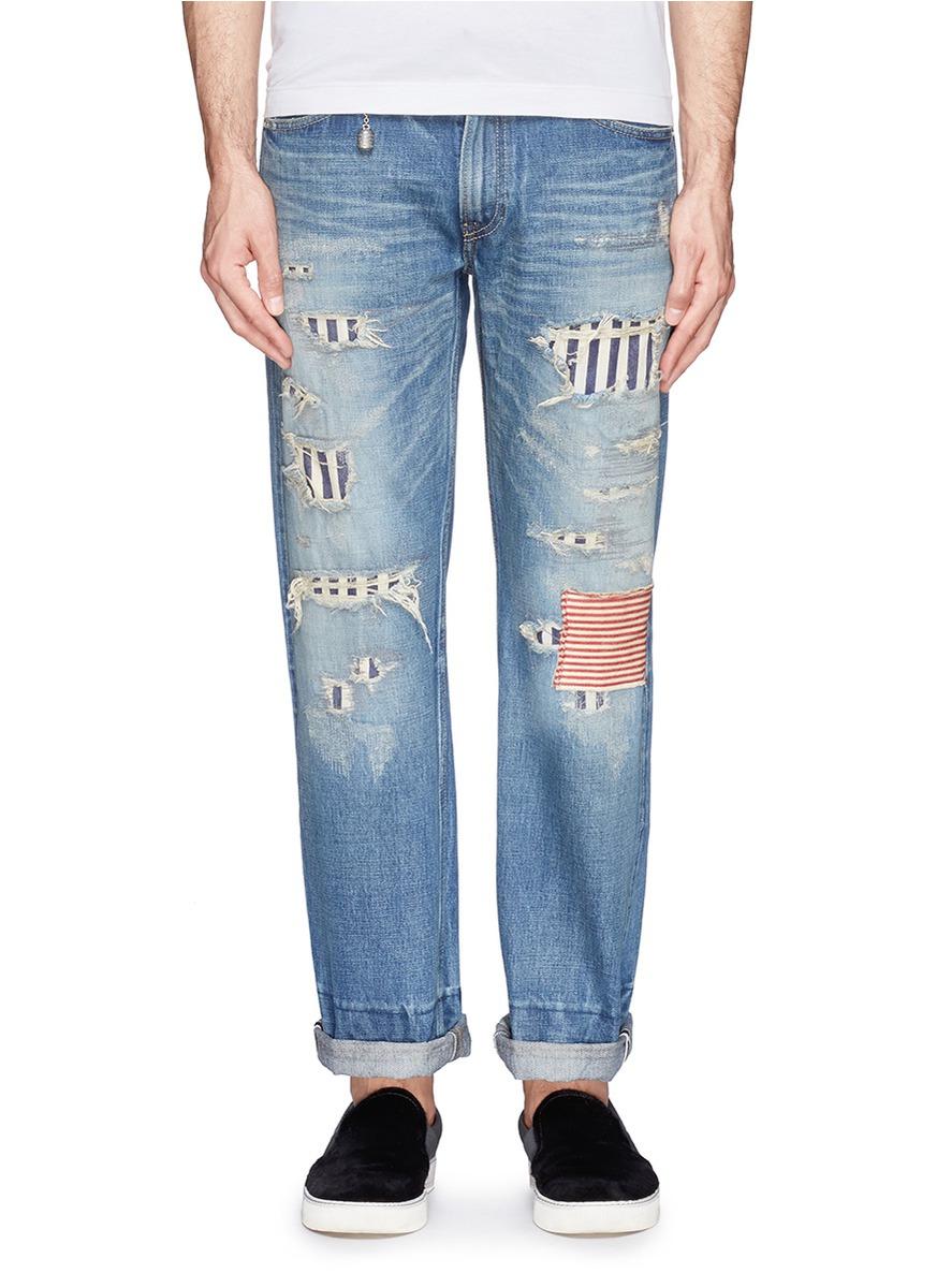国旗破洞牛仔裤