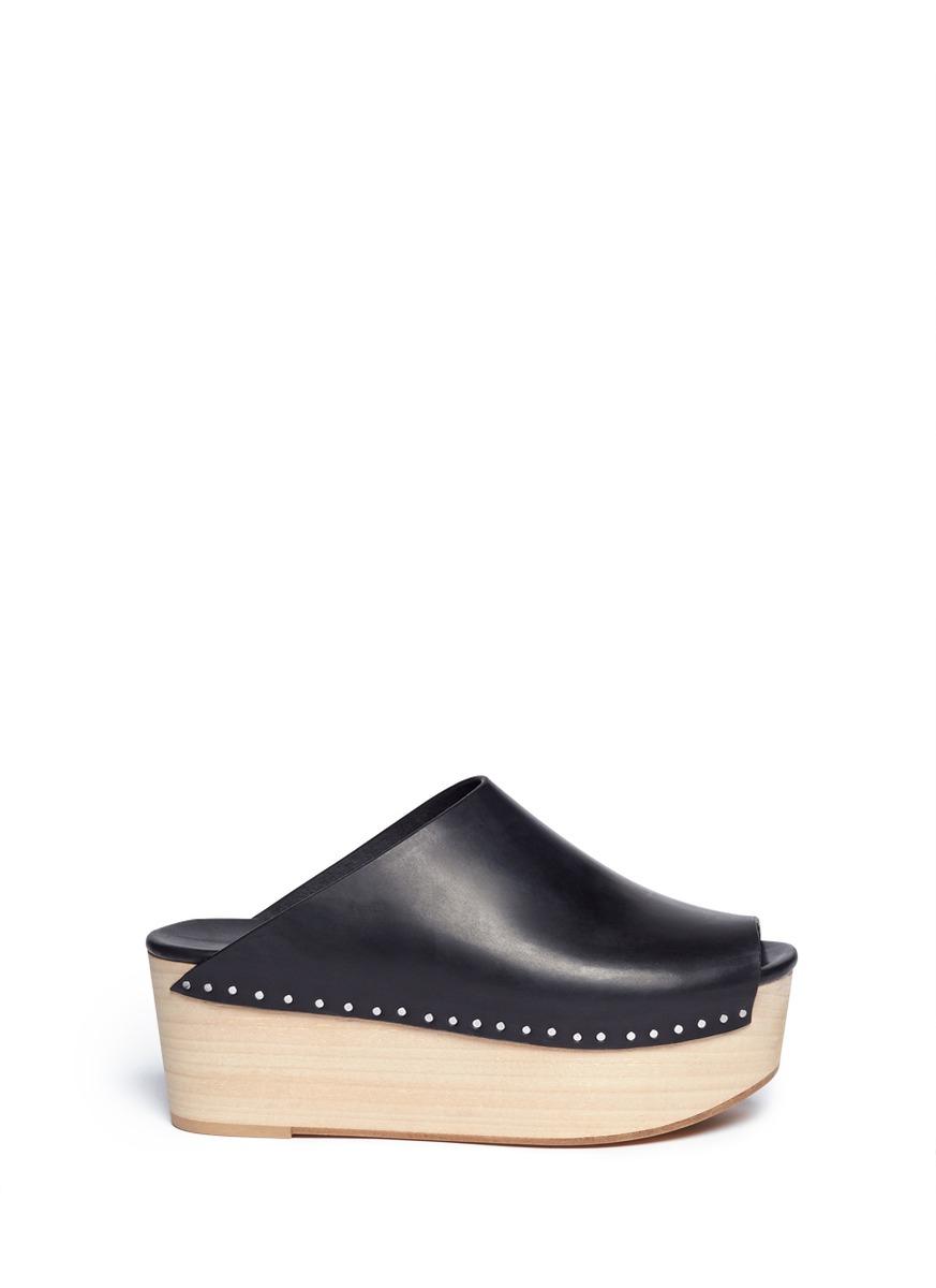 rick owens - 真皮露趾木屐 - 特卖 | 黑色 厚底鞋 中