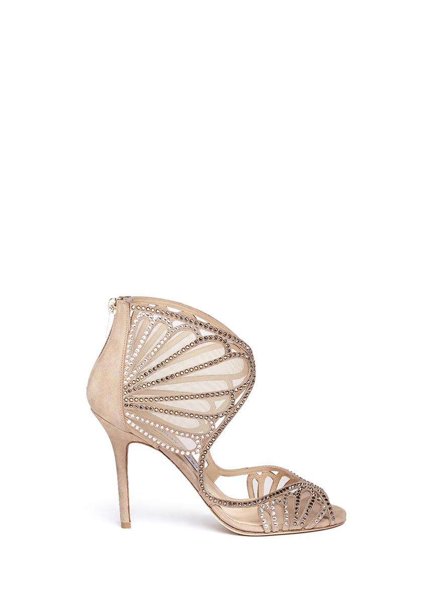 kole水晶网纱高跟凉鞋