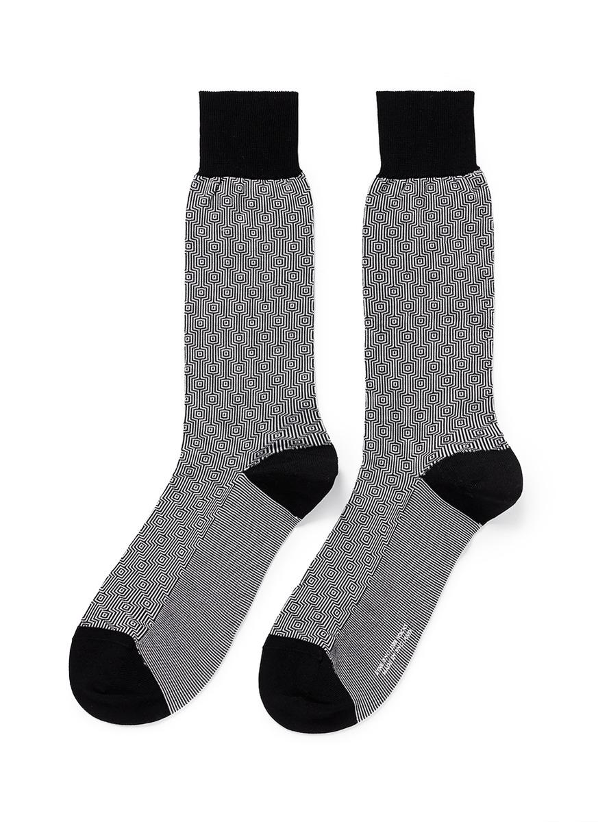 pantherella - 方格条纹袜子 | 黑色 袜子 | 男装