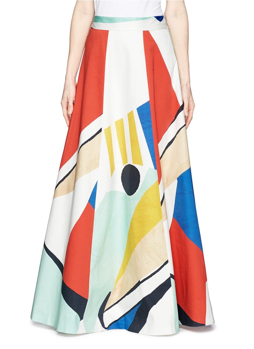 多彩几何印花半身长裙