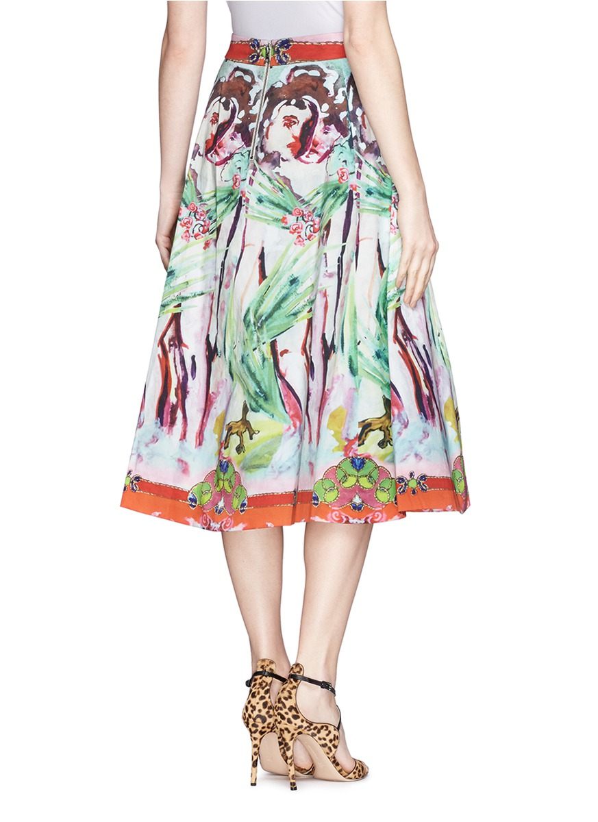 抽象丛林图案褶裥半身裙