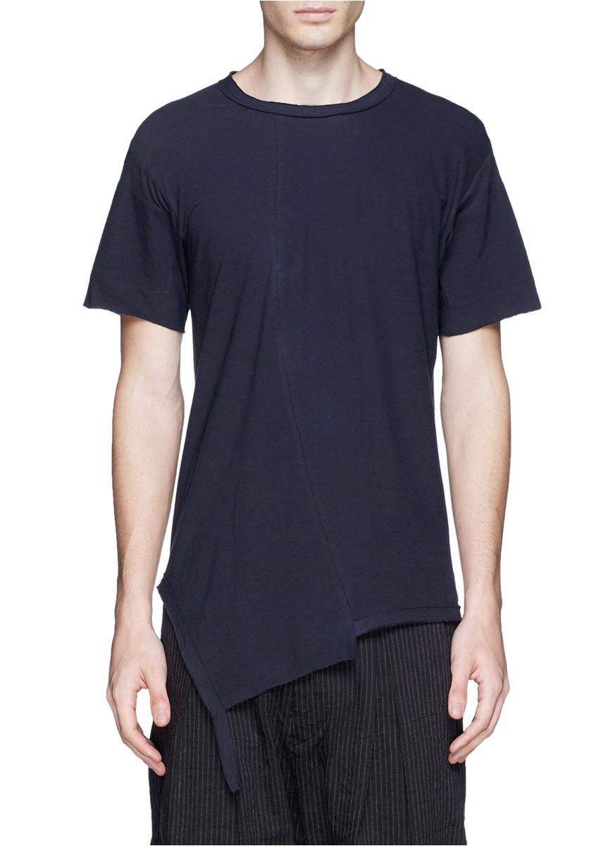 不规则下摆纯棉t恤