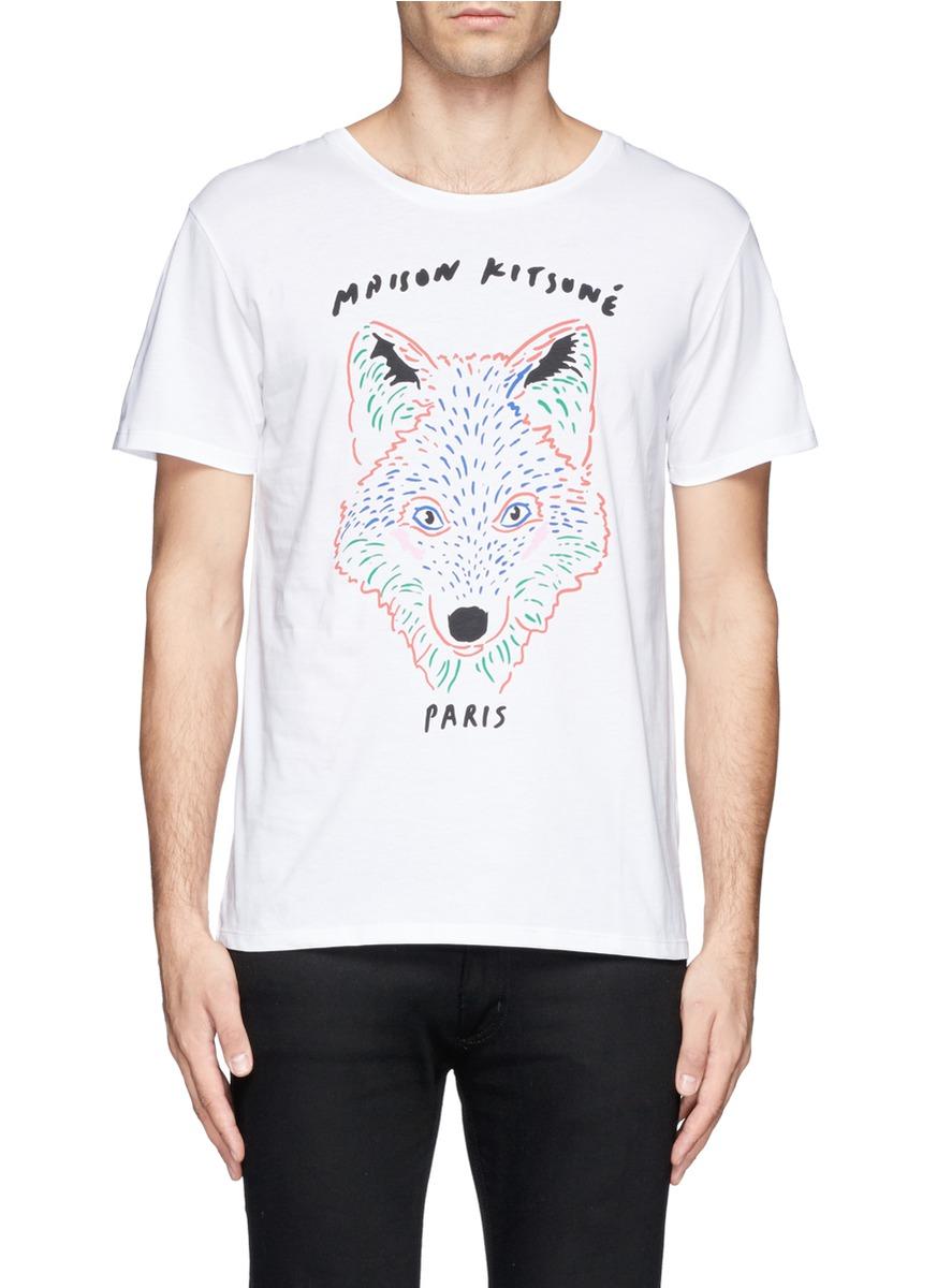 彩绘狐狸头图案纯棉t恤