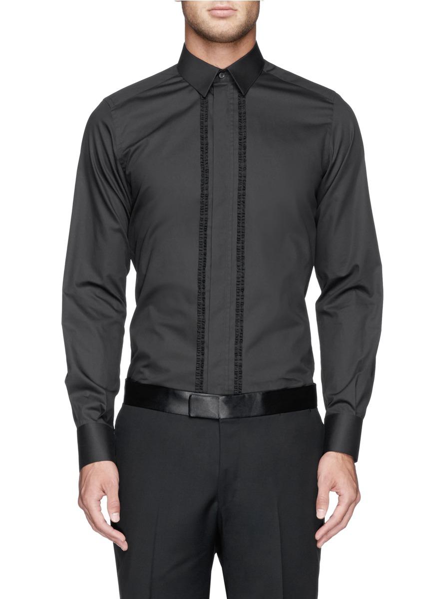 褶裥花纹装饰礼服衬衫