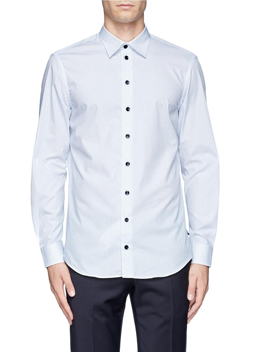 纯棉圆点图案衬衫图片