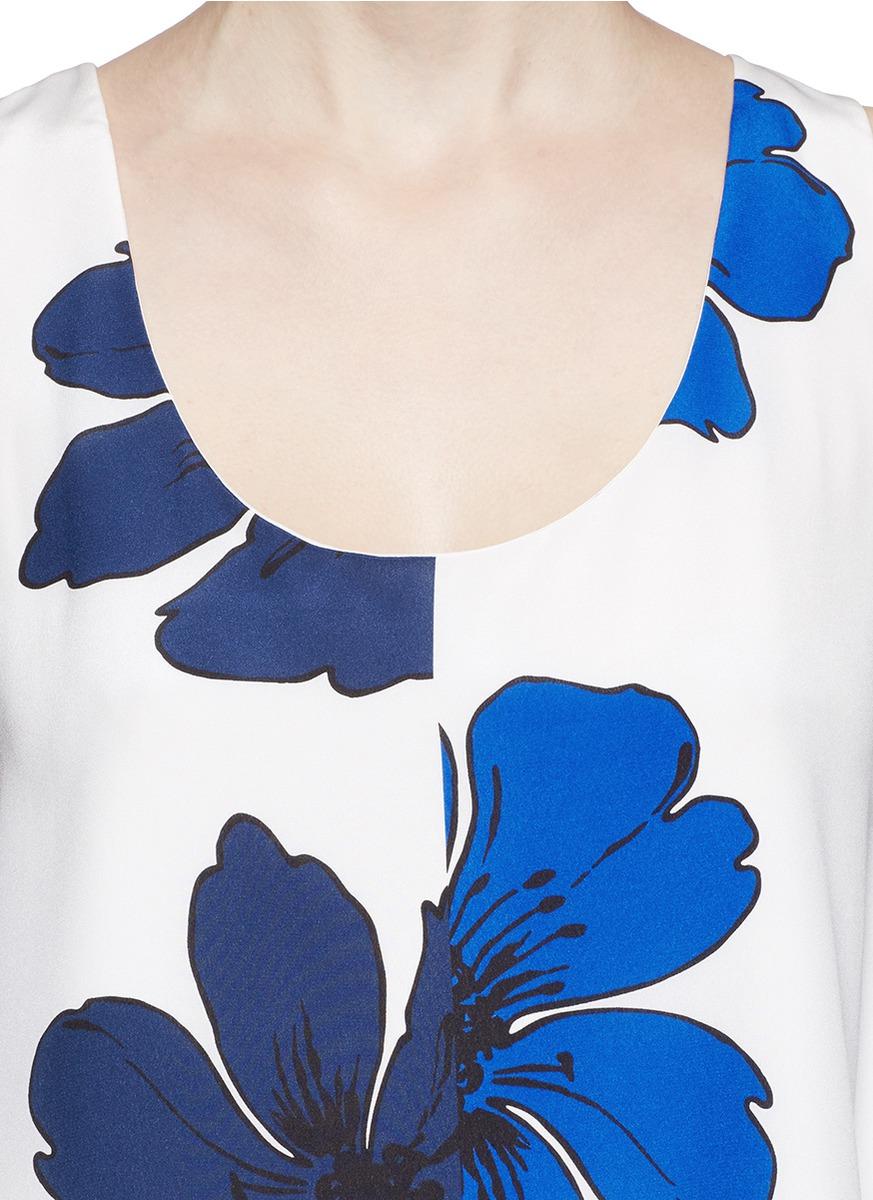 手绘花卉图案真丝上衣