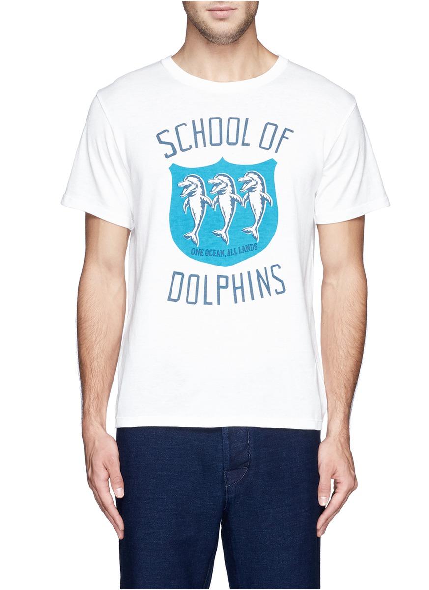 海豚字母图案t恤