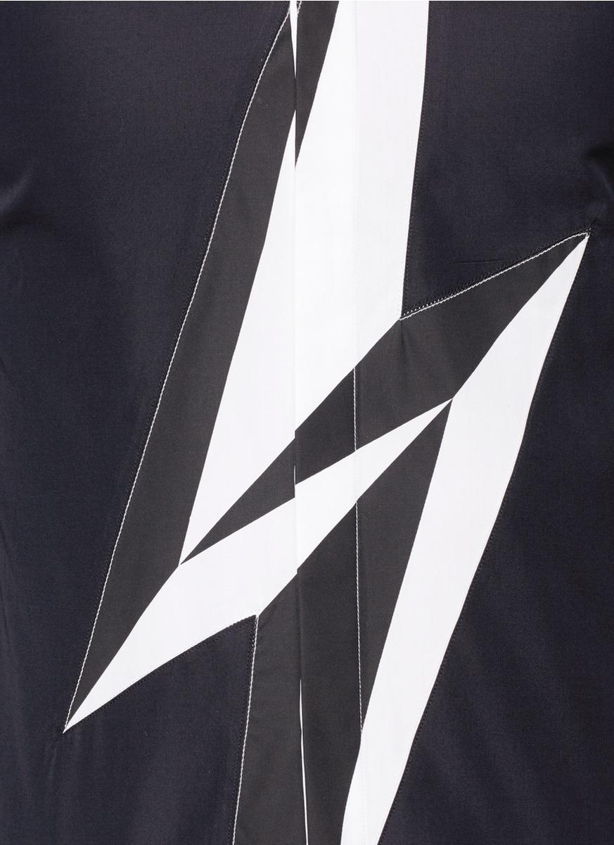 闪电图案纯棉衬衫