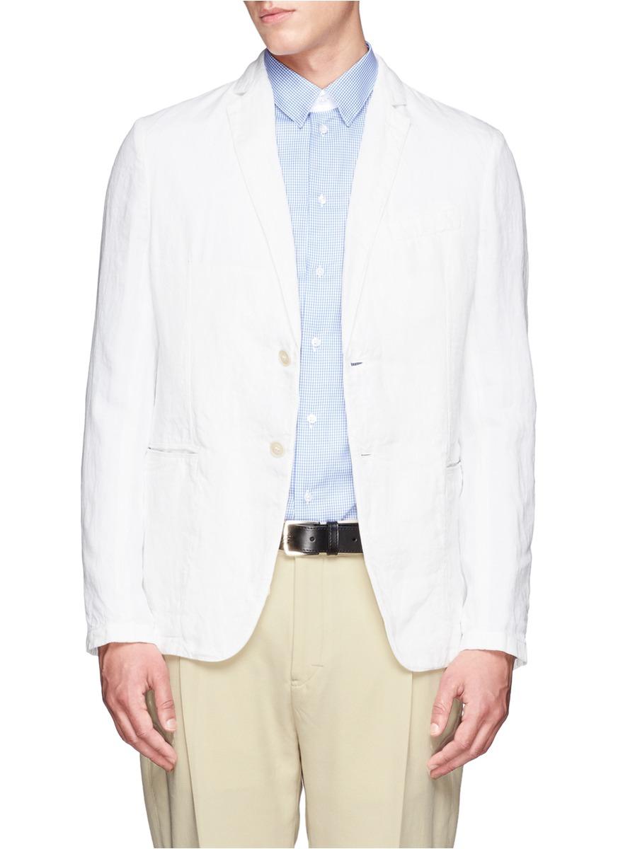 男士亚麻白衬衣搭配
