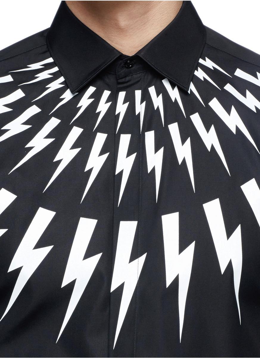 闪电图案混棉短袖衬衫