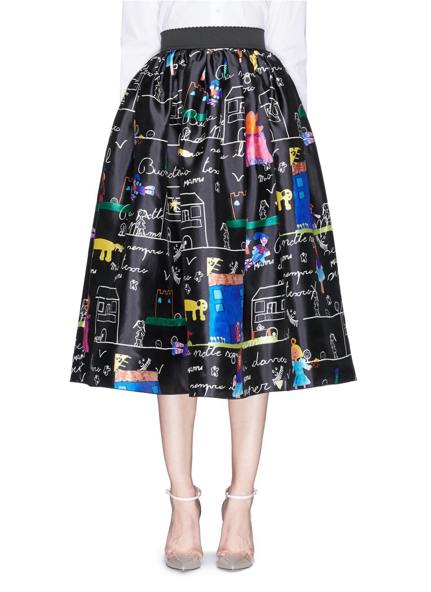 绘画图案真丝半身裙