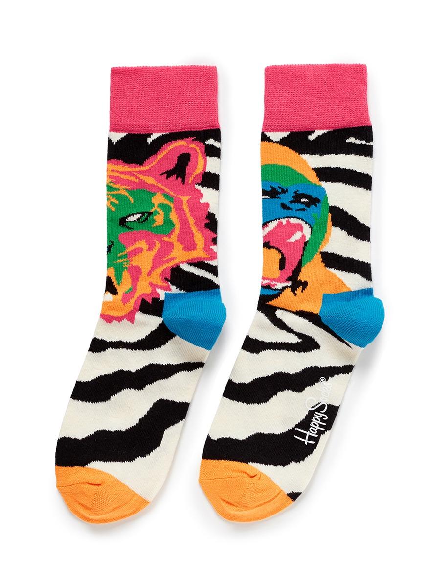 猩猩老虎斑马纹拼色袜子