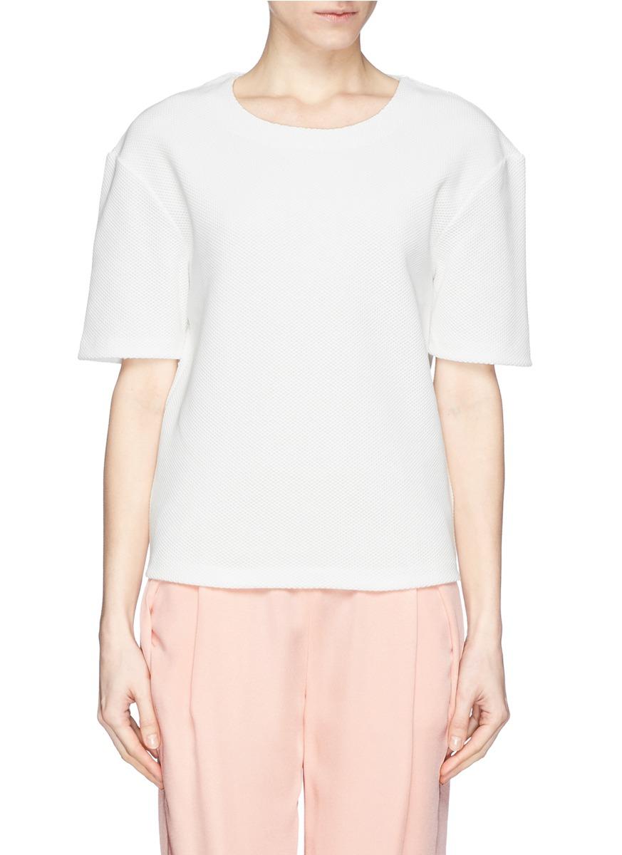 纯色凹凸纹t恤