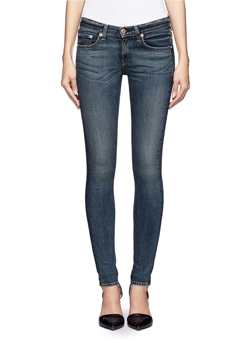 低腰紧身牛仔裤