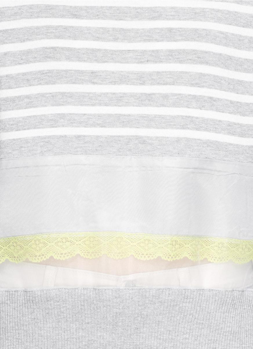网纱条纹纯棉针织上衣