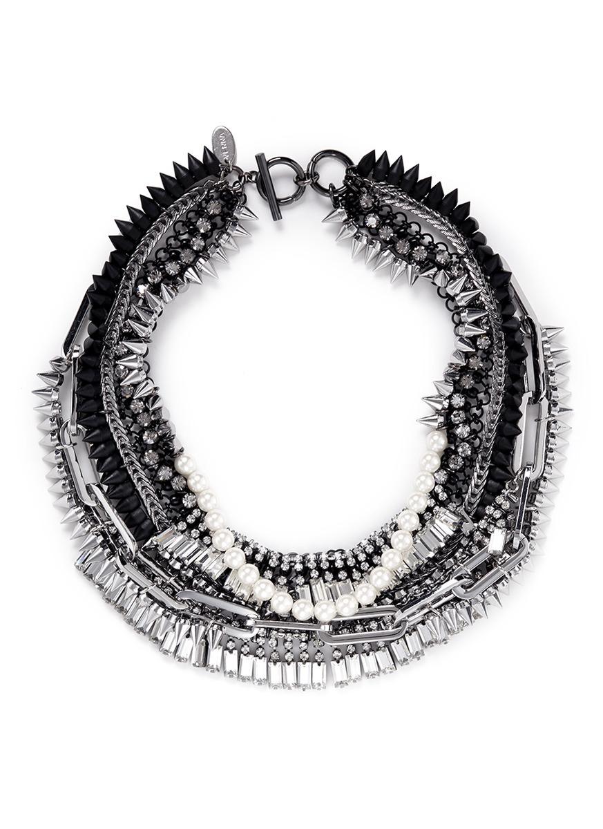 尖钉珍珠层次项链