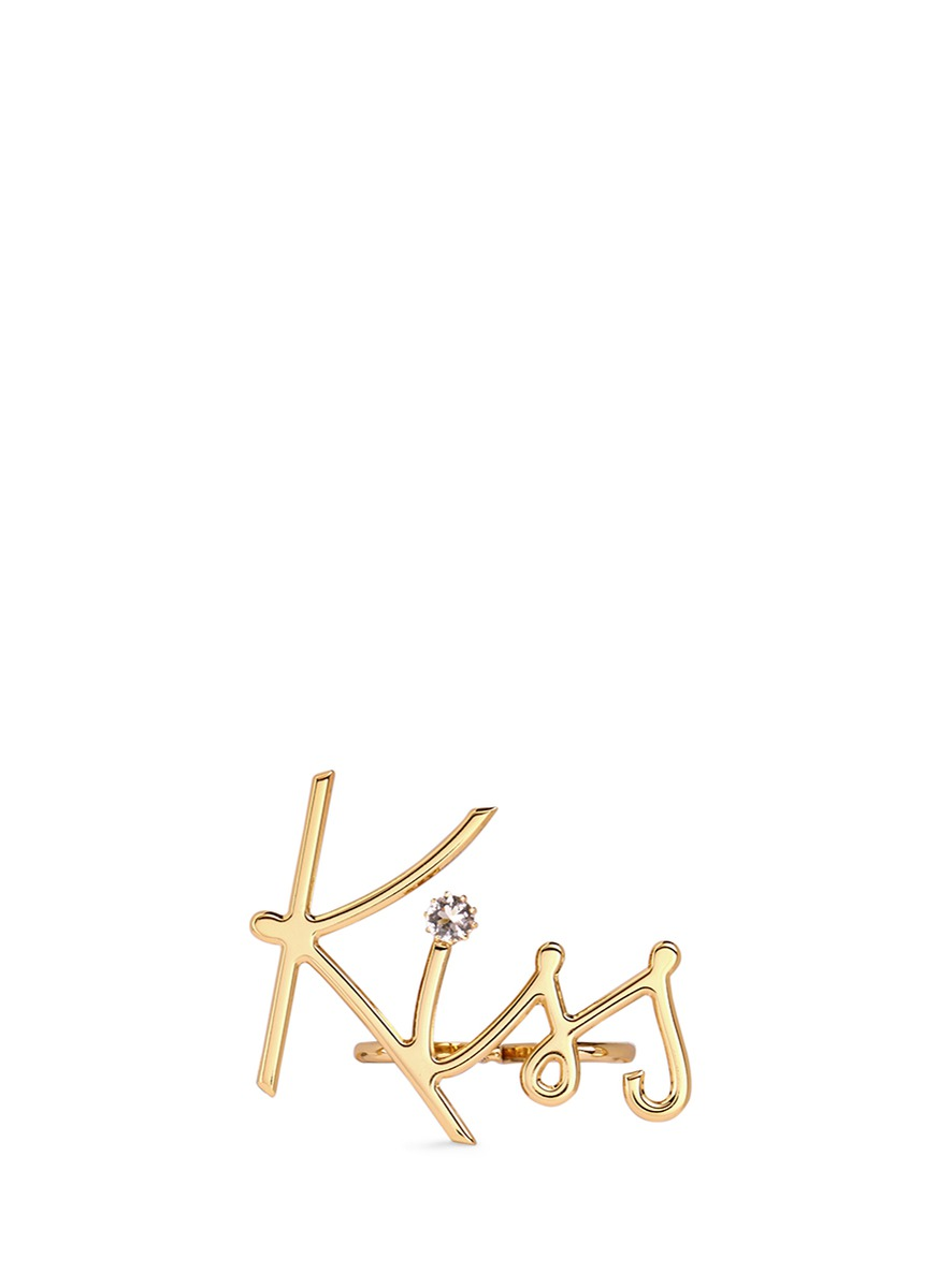 kiss字母水晶连环戒指