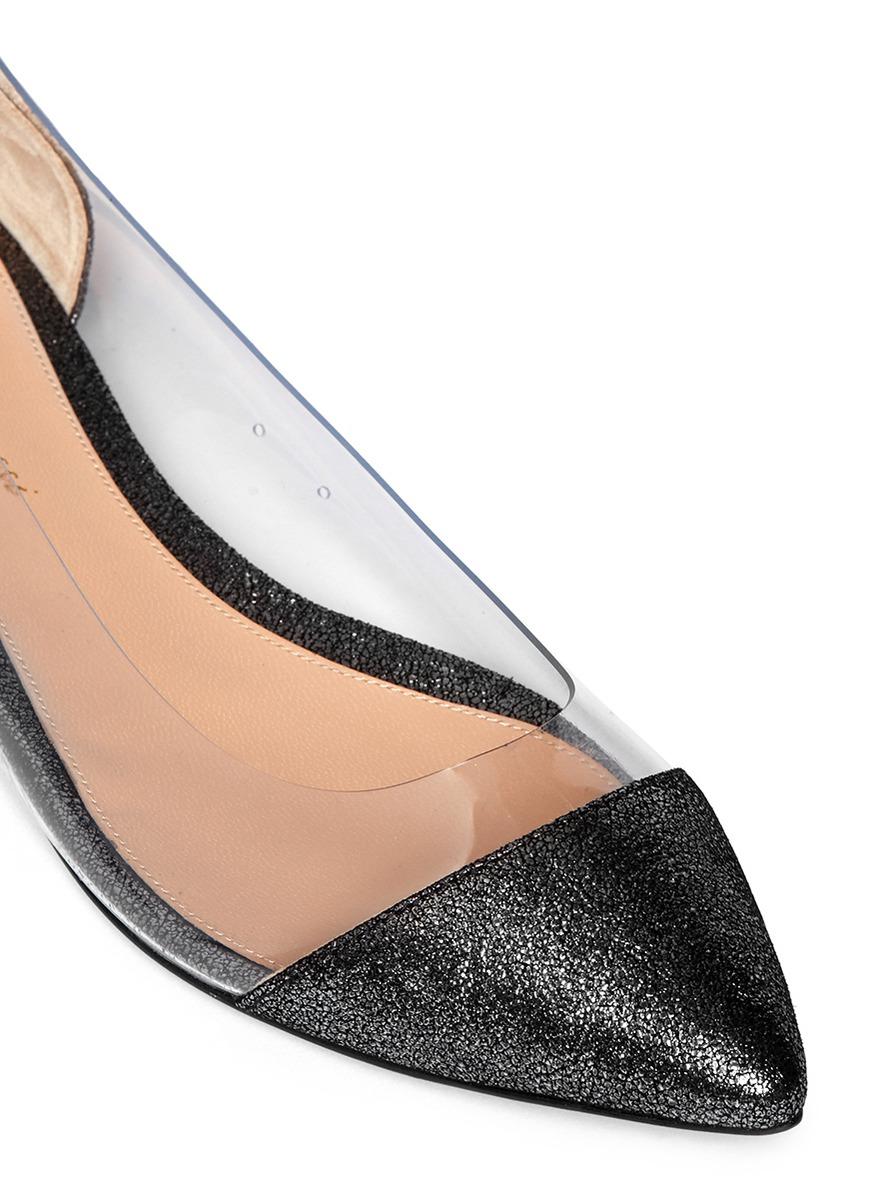 透明拼接尖头平底鞋