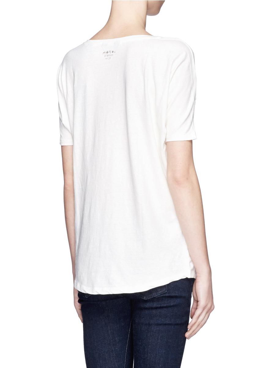 手绘图案混棉t恤 - 特卖 | 白色 t恤衫 上装 | 女装