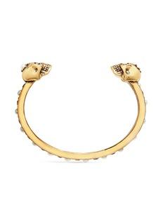 Alexander McQueen 人造珍珠仿水晶点缀骷髅头黄铜手镯