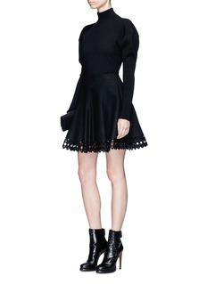 ALAÏA Vienne几何镂空羊毛混羊绒半身裙
