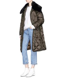 Moncler Ceanothu羊毛边饰绗缝长款羽绒外套