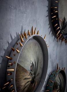 L'OBJET Celestial尖锥铆钉陶器边框凸面镜-加大号