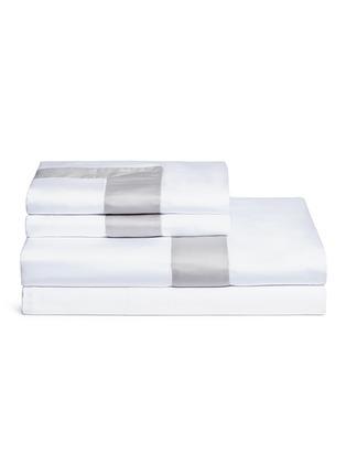 首图 –点击放大 - FRETTE - Essentials拼色条纹特大双人床床品四件套-白色及灰色