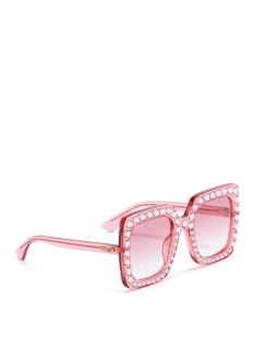 GUCCI 仿水晶点缀oversize方形镜框太阳眼镜