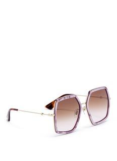 GUCCI oversize几何镜框板材拼接金属太阳眼镜