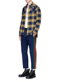 GUCCI 拼色侧条纹露踝休闲裤