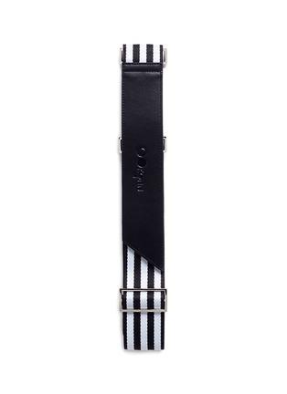 首图 –点击放大 - OOKONN - 真皮拼接条纹尼龙行李箱捆扎带-黑色及白色