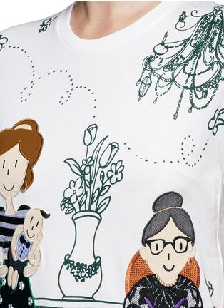 细节 - 点击放大 - DOLCE & GABBANA - 家庭刺绣拼贴图案T恤