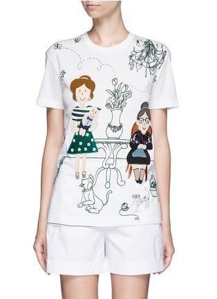 首图 - 点击放大 - DOLCE & GABBANA - 家庭刺绣拼贴图案T恤