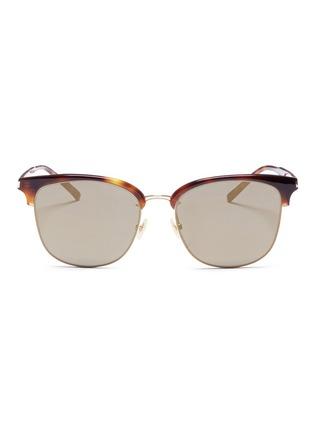 首图 - 点击放大 - SAINT LAURENT - 玳瑁板材半框方形镜面太阳眼镜