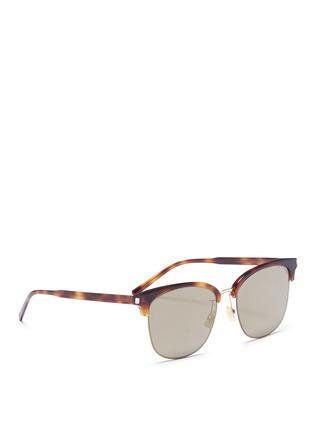 模特儿示范图 - 点击放大 - SAINT LAURENT - 玳瑁板材半框方形镜面太阳眼镜