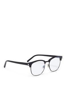SAINT LAURENT 金属拼接板材方框平光眼镜