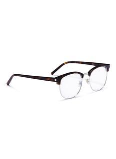 SAINT LAURENT 琥珀板材金属方框眼镜