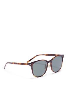 SAINT LAURENT 玳瑁板材方框太阳眼镜