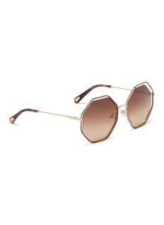 CHLOÉ Poppy悬浮效果镜片几何金属框太阳眼镜