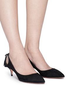 AQUAZZURA Forever Marilyn 45流苏装饰镂空绒面尖头低跟鞋