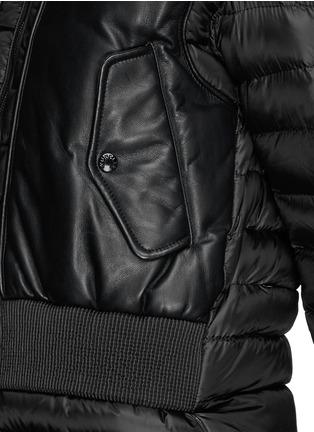 细节 - 点击放大 - Moncler - 真皮拼贴羽绒夹克