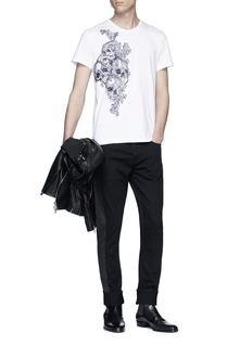 Alexander McQueen 拼色条纹棉质牛仔裤