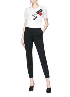 DOLCE & GABBANA 品牌商标及爱心刺绣纯棉T恤