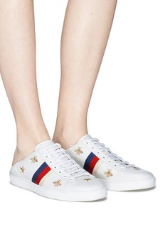 GUCCI Ace刺绣拼色织带踩跟式真皮运动鞋