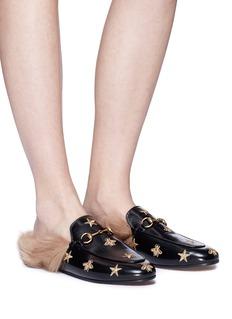 GUCCI Princetown刺绣小羊毛真皮乐福拖鞋