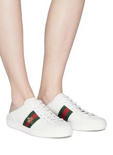 GUCCI Ace蜜蜂刺绣织带踩跟式真皮运动鞋