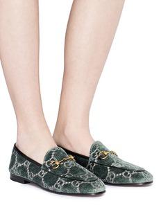 GUCCI Jordaan GG品牌标志天鹅绒乐福鞋